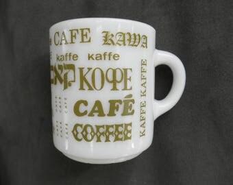 Vintage Milk Glass Mug, COFFEE in Multiple Languages