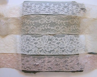 vintage flat lace assortment - cream and beige - 6+ yards total