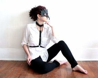Black Leather Harness - Adjustable Elastic Body Harness with Choker Collar Necklace - Available in sizes XS - XL - Antique Brass or Silver