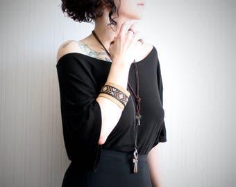 leather cuff bracelet // women's or men's wide leather arm band // cross stitch bracelet // southwestern boho bracelet // festival bracelet