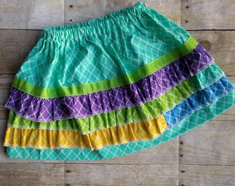 Girls Rainbow Ruffle Skirt - size 4