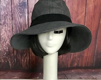 Sun Hat Grey Denim, Wide Brim Hat, Floppy Hat, Bohemian Hat, Festival Hat, Denim Hat, Packable Travel Hat, Floppy Sun Hat,