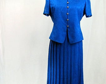 Vintage 1980s Royal Blue Silk Two Piece Dress Papell Too