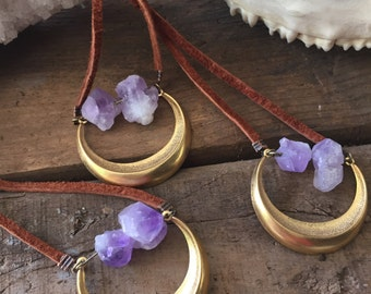 Amethyst Necklace/ Crescent Moon Necklace/ Natural Gem Stone/ Raw Amethyst Pendant/ Holiday Jewelry/ Gifts for Her/ Boho Bride/Moon Necklace