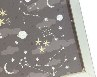 Magnet Board - Magnetic Memo Board - Dry Erase Board - Makeup Board - Office Wall Decor - Moon and Stars Design - inclds magnets