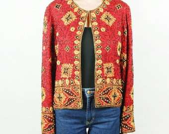 Red, Gold, and Black Sequined and Beaded Long-Sleeved Top