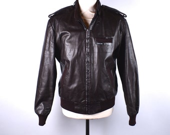 Cordovan Cafe Racer Jacket by Members Only, Size 40