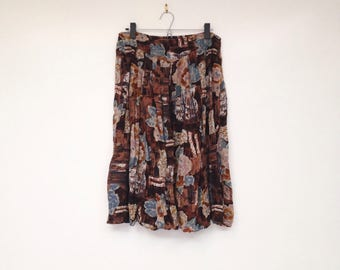 Vintage 1990s Plus Size Brown and Blue Floral Soft Skirt