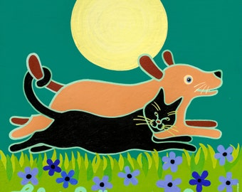 Life is Better with a Rescue 3' x 3' Giclee on canvas black cat yellow dog copyright Hillary Vermont