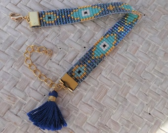 Beaded Loom Evil Eye Bracelet with Tassel - Blue Evil Eye Bracelet