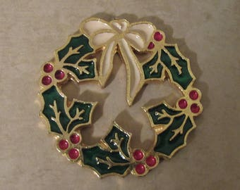 Enameled Wreath Magnet - OOAK Wreath Magnet - Repurposed/Recycled Vintage Brooch