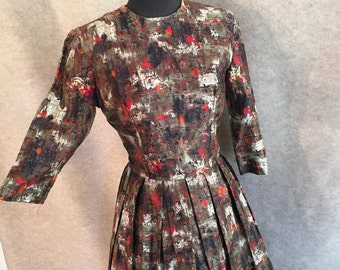 Vintage 50's Day Dress, Full Pleated Skirt, Brown Abstract Print, Long Sleeve, Rockabilly Style, Small to Medium, Waist 27 Bust 36 Small