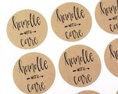 Shop Exclusive -Handle wih Care stickers with arrow- modern calligraphy hand lettered stickers - small business and packaging stickers