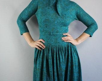 50s Dress, Women's Dress, vlv, Viva las vegas, Turquoise, 3/4 sleeve, Office, Mad Men, Full Skirt, Marilyn, Audrey Hepburn, Size Small