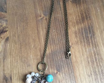 Vintage Necklace, Charm Necklace, Pearl Necklace, Jasper Necklace, Key Necklace, Upcycled Necklace