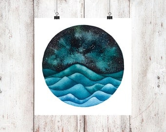 The Pisces Constellation above an ocean of waves watercolor print, Space Art, Galaxy Painting, Stars Print, Zodiac Print, Night Sky Print