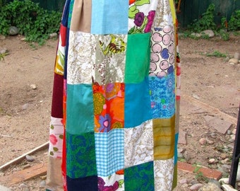 Gorgeous Vintage 1970's Patchwork Lined Maxi Skirt