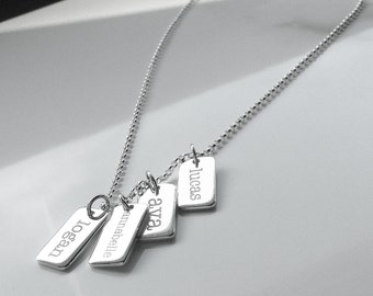 Name Tag Necklace . Sterling Silver Name Necklace . Personalized Mother's Necklace . Tatumbradleyco
