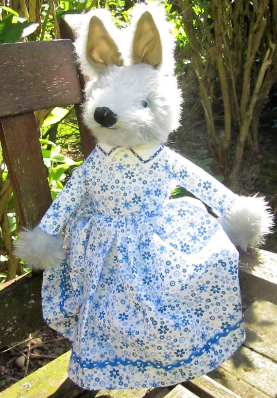 Grey Wolf Dressed Toy, Grey Wolf in Blue Dress. Wolf Dressed Toy, Traditional Animal Toy, Dressed Wolf Toy, Furry Wolf Dressed Toy, Toy Wolf