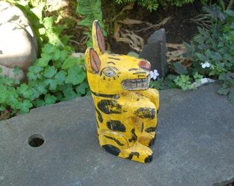 "Vintage 14"" tall Oaxacan Carved Begging Dog w/ Toothy Grin ~ Folk Art Yellow w/ Black Smiling Dog ~ Folk Art Alebrije Oaxaca Wood Carving"
