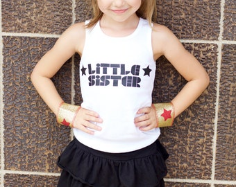 BIG SISTER or LITTLE Sister Tank Top - Kids t shirt - Baby shower gift - Mothers Day gift - New Baby Gift - Baby superhero - Superkidcapes