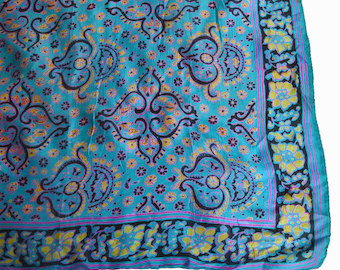 Vintage 60s 70s Silk Square Scarf Paisley Floral Print Blue Yellow