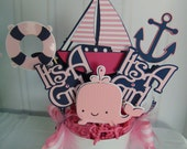 It's A Girl Pink and Navy Nautical Centerpiece-Baby Shower