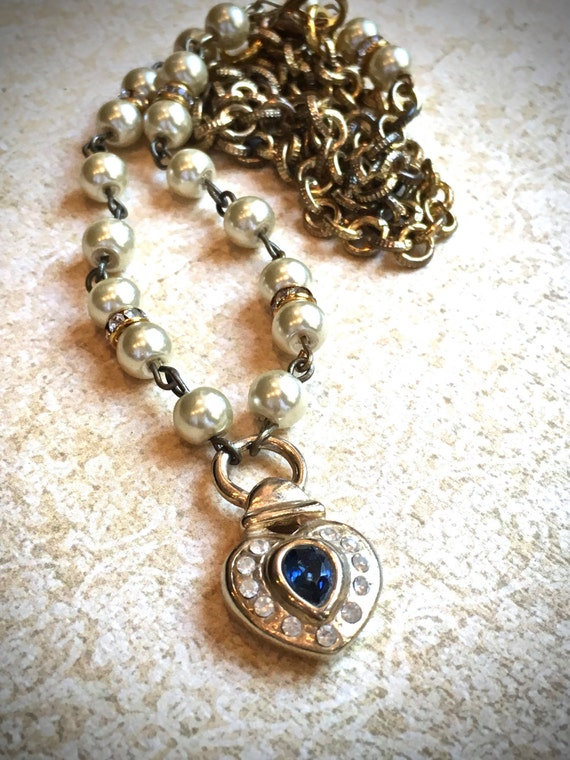 Blue Heart Charm Pendant handmade necklace