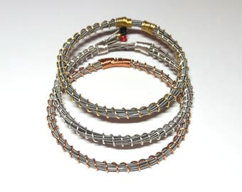 Wire Twisted Guitar String Bangle Bracelet | Handmade Recycled Bracelet | Salvaged Guitar String Jewelry