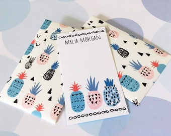Personalized Gift Enclosure Cards, Mini Cards, Gift Cards, Pineapple Cards, Set of 10
