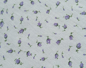 "Vintage 34"" Fabric- Lavender Rose Buds on White Tiny Calico Cotton TINY PRINT COTTON Quilting sewing doll dresses"