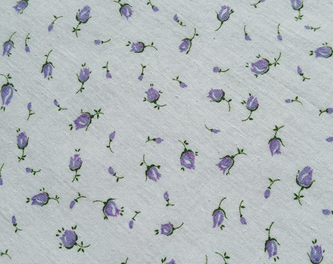 """Vintage 34"""" Fabric- Lavender Rose Buds on White Tiny Calico Cotton TINY PRINT COTTON Quilting sewing doll dresses"""
