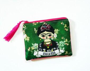 Frida Kahlo purse, original illustration. 10.5 x 13 cm.