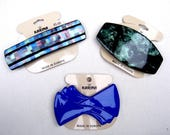 3 vintage Karina hair accessories barrettes hair combs 1980s blue pearlised theme hair slide hair clip (ABA)