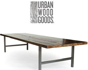 Urban Farmhouse Conference/Board Room/Office Table with antique finish, steel legs in your choice of color, size, finish. Custom 4-5 wks.