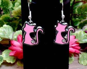 Pink Cat Earrings - Elegant Cat Earrings - Rhinestone Cat Earrings