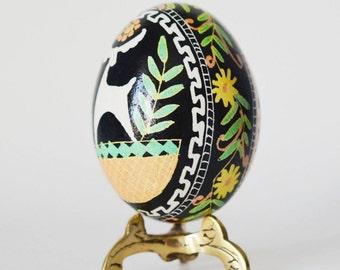 Pysanka with Ram or Raindeer Ukrainian Easter egg with Animal symbol of fertility healthy life stock