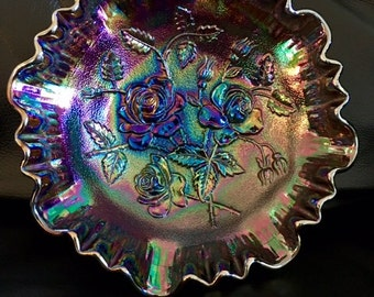 Vintage Imperial Carnival Glass, 8 Inch Footed Shallow Bowl, Large Rose Pattern
