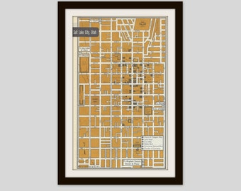 Salt Lake City Utah Map, City Map, Street Map, 1950s, 2 Sided, St. Paul Minnesota Map, Black and White, Brown