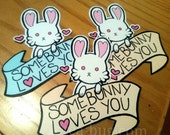 Somebunny Loves You cute handcut vinyl sticker available in blue or cream