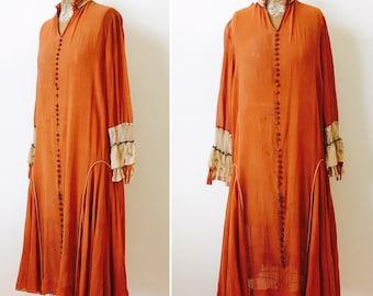 Vintage 1920s Silk Dress/Embroidered sleeves/metallic trim/Repurpose