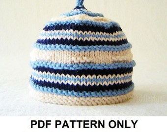Hat Knitting Pattern - Nautical Hat Pattern - the NATHANIEL beanie (Newborn, Baby, Toddler, Child & Adult sizes incl'd)