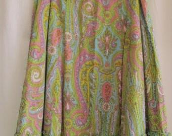 Pink & Green Paisley Skirt Full Peasant Skirt Below-the-Knee Length Papillon Los Angeles Size Medium Summer Skirt 100% Cotton