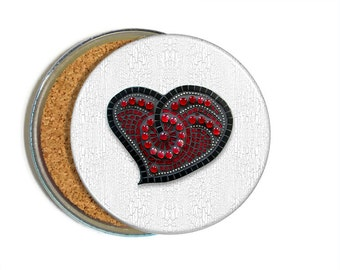 Faux Mosaic Coaster Set, set of 6 cork back coasters, heart coasters, Valentine's coasters, drink coasters, mom gift, decorative coasters