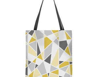 Geometric Tote Bag, gray, mustard yellow tote bag