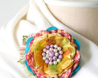 Unique Gift for Women, Colorful Fabric Flower Brooch, Textile Flower Pin, Corsage Pin, Rainbow, Shawl Pin, Scarf Pin, Hat Pin, Gift Girls
