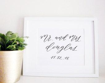 Wedding Sign Calligraphy Print - Wedding Reception Decor - Reception Sign - Wedding Decor - Mr. and Mrs.