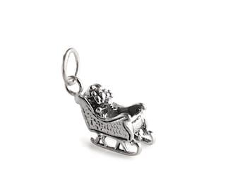 Santa's Sleigh Sterling Silver Charm