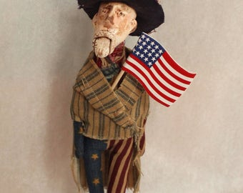 OOAK Original Handmade Vintage Style American Folk Art Uncle Sam Doll in a Primitive For Independence Day Colors Red White and Blue USA