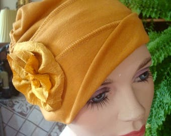 Womens hat mustard gold Chemo hat chemo headwear soft hat headcover viscose  knit